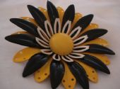 Huge 1960's Floral Pin in Yellow, Black and White (Sold)